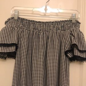 Xhilaration Dresses - Off the shoulder checkered dress